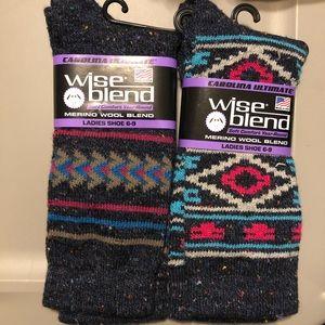 2 Pairs Merino Wool Blend Socks Women Shoe 6-9 B39